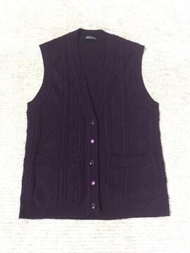 597.ニットベスト☆パープル/深紫☆L程度