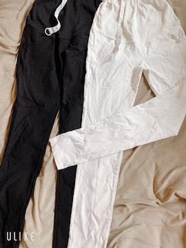 マタニティパンツ2枚セット 白、黒