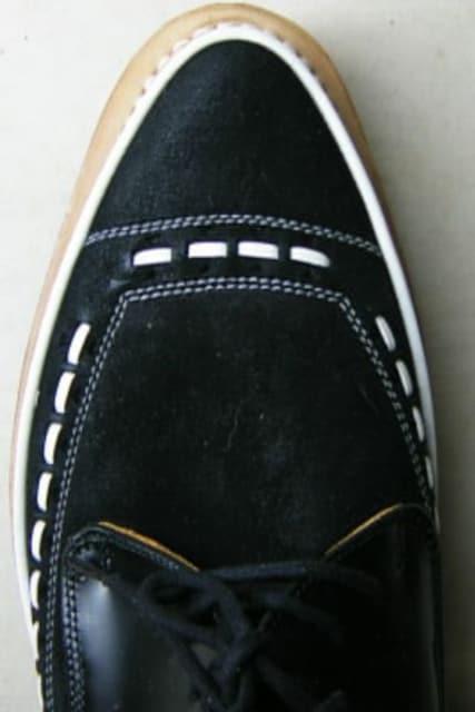 別注品ジョージコックス新品5289黒コンビ素材コバ皮uk10 < 男性ファッションの