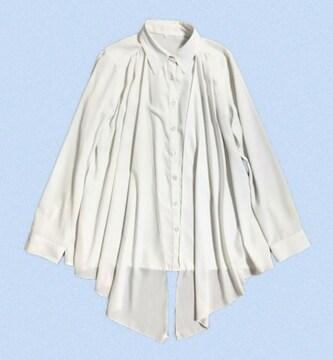 ☆前身頃ヒラヒラ2枚仕立て3way長袖白シャツ(M)美品