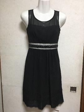 新品アプワイザー裾レースドレスワンピース黒ブラックフォーマル