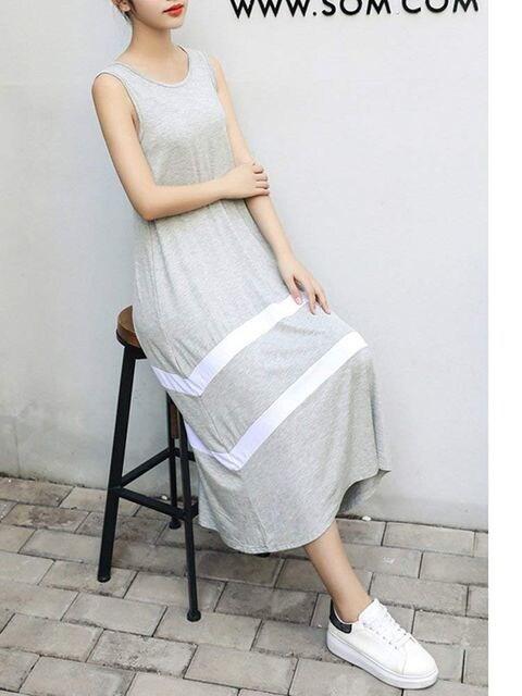 伸縮性有りボーダー ★ロングフレアーワンピース (グレー.XL寸 < 女性ファッションの