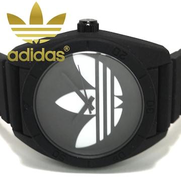 美品 1スタ★Adidas アディダス BLACK×White メンズ腕時計