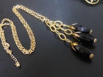 新品 アンティーク調黒色つぼみのようなネックレス