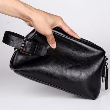 セカンドバッグ メンズ がま口金ファスナーで大きく開閉