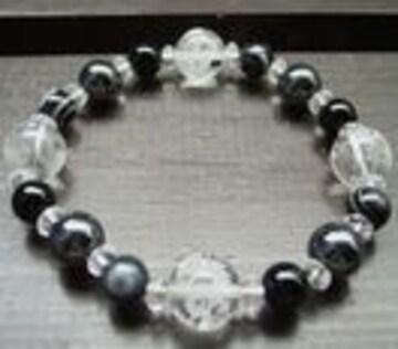 龍彫水晶xオニキスx天眼石xヘマタイトブレスレット