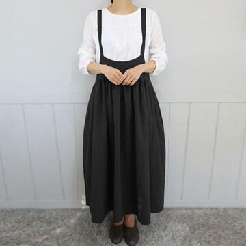 新品[7642]5XL(大きいサイズ)黒サロペット風のかわいいロングスカート