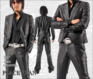 【Place plan】ショート丈光沢地シャンブレースーツ■ブラックM