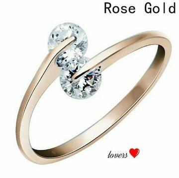 送料無料16号ピンクゴールドスーパーCZダイヤモンドリング指輪