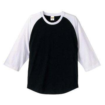 5.0オンス ラグラン 3/4スリーブ Tシャツ ブラック/ホワイト M