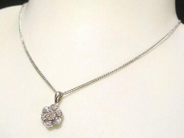 天然ダイヤ015キャラのフラワーセッティングK18WGペンダント可愛く高貴最高ネックレス