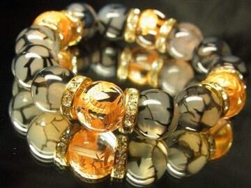 オラオラ系ブレスレット!!金彫四神獣水晶×龍紋ドラゴンアゲート数珠