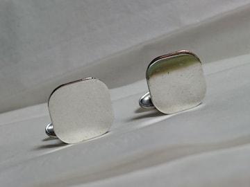 正規 TIFFANYティファニー ヴィンテージ スクエア鏡面カフスSV925 アンティークブロックボタン