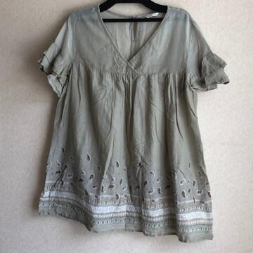 ☆涼しい!フレンチ袖チュニック/Lサイズ(古着)