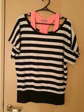 未使用*袖広半袖カットソー+タンクトップ*アンサンブル