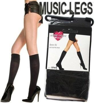 A878)MUSICLEGSひざ丈タイツ黒ブラックストッキングダンスダンサーセレブ衣装B系