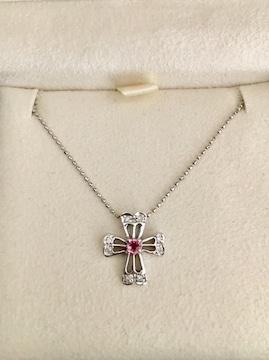 ダイヤモンド×ピンクサファイア クロス ネックレス K18WG 2.5g