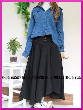 新作◆大きいサイズ3Lブラック◆ウエストコルセット風◆アシメスカート