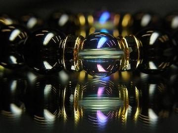 大特価!!ブルーオーラ×ブラックオニキスMIX数珠ブレスレット