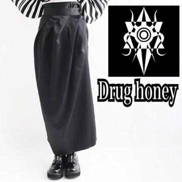 【新品/Drug honey】フロントドレープサテンロングラップスカ
