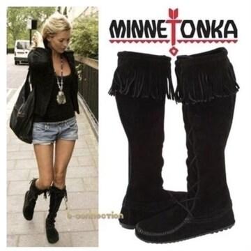 ◆Minnetonka/ミネトンカ◆フロントレースニーハイブーツ★ブラック6*23cm♪