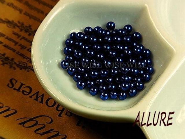 穴なしパール  2mm 濃い青 レジン最適 50粒  < 香水/コスメ/ネイルの