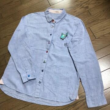 エスタコット 恐竜ワッペン恐竜刺繍 水色ネップシャツ