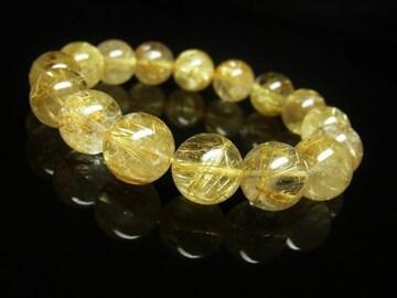 最強金運天然石 タイチンルチルブレスレット 12ミリ数珠パワーストーン