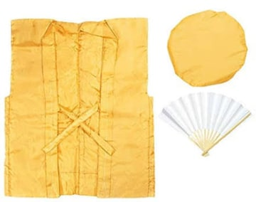 色イエロー [キョウエツ] ちゃんちゃんこ 黄 無地 米寿お祝いセ