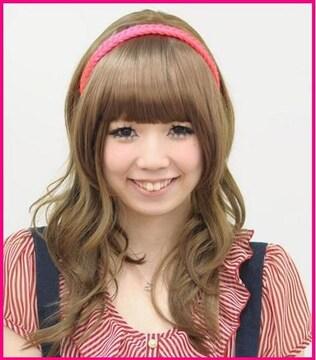 ★Wigs2you☆W-8230★三つ編みカチューシャ★ネオンピンク