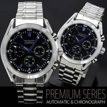 人気★ミッドナイト自動巻きクロノグラフ腕時計BK全稼働
