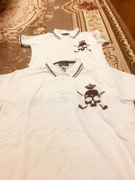 親子お揃いポロシャツ 140 大人XL 白にドクロ ワッペン