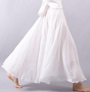 ふんわり★森ガール★マキシ丈スカート(フリーサイズ、白)