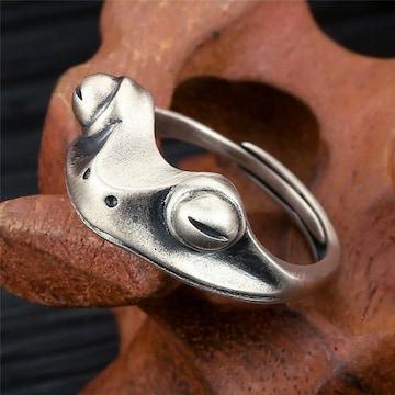 シルバー925 かえる 指輪 リング フリーサイズ