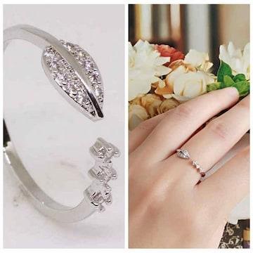 指輪18KRGPプラチナ高級CZフラワーリングyu1033e