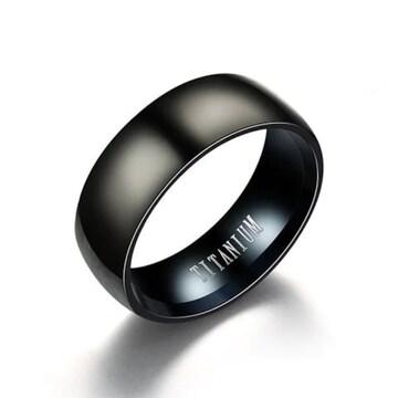 超お買い時490円★ メンズ チタン欧米スタイルリング 16号黒