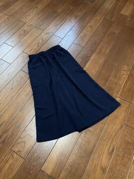 【美品】日本製◆BLACK◆サラサラ上質春夏ワイドパンツ/ガウチョ