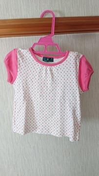 美品 ドット柄 ピンク 白  半袖 Tシャツ 100 フレンチ袖