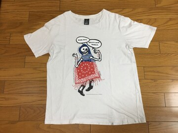 中古ナンバーナイン4赤青白バンダナ柄Tシャツ髑髏ドクロ