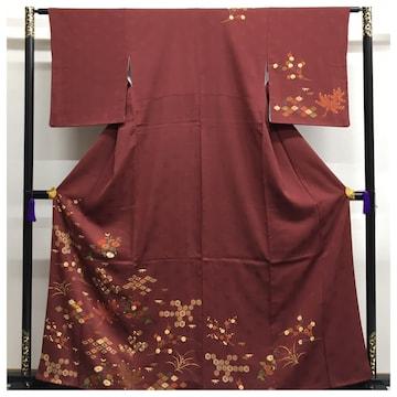 上質 正絹 訪問着 花模様 濃い赤色 地紋華 身丈160 裄62.5 中古