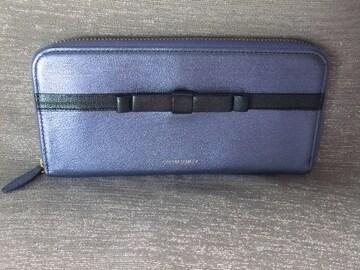 新品未使用◆シンシアローリー◆牛革メタルブルーリボン 長財布