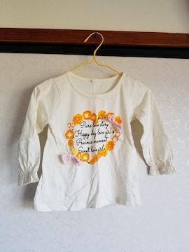 白にオレンジの花柄ピンクリボンつき長袖Tシャツ90