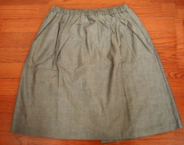 *重ね着風★スカート(ペチパンツ付き) LL (茶系ダンガリー) < 女性ファッションの