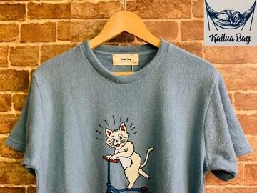 表記M/新品!パイル 猫 キャラクター Tシャツ スケボー サーフ  西海岸スタイル スケーター
