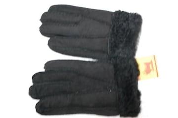 婦人用ムートン手袋5本指タイプ黒22サイズ