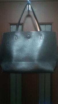新品★しまむら★トートバッグ/黒×ベージュのリバーシブル大