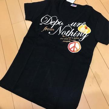 新品◆ピースマーク◆Vネック半袖Tシャツ◆ 160 ラメプリント