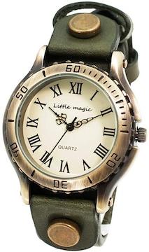 アンティーク 風 腕時計 カーキ