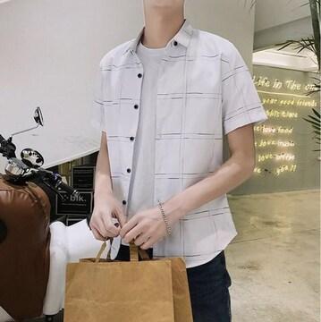 新品 メンズ 半袖シャツ チェック XLサイズ