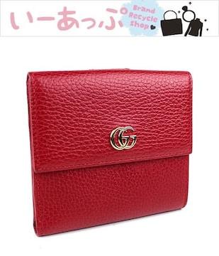 グッチ Wホック財布 二つ折り財布 GGマーモント レッド 極美品 i905
